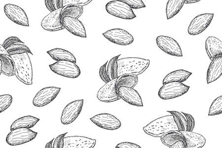 Seamless pattern with almond nuts. Line art style. Vector Illustratie