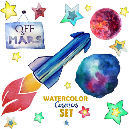 "Cute childish watercolor set of space illustrations, Spacex rocket, red planet Mars, watercolor deep space, stars and the sign ""off to Mars""."