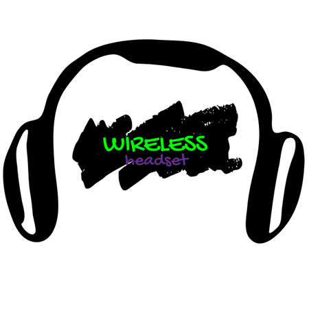 Headset wireless black vector doodle on a white background