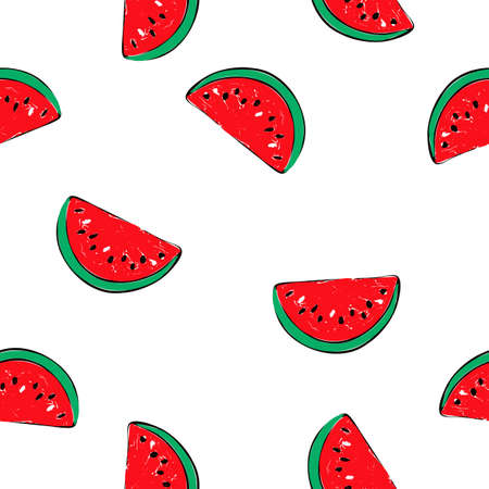Vector seamless pattern of watermelon slice hand drawn on white background.