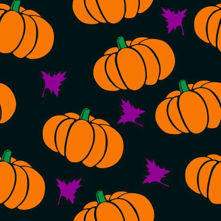 Flat Design Autumn Vegetable Seamless Pumpkins and Leaves Pattern.