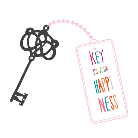 Illustration with a key and lettering - Key to your happiness Illusztráció