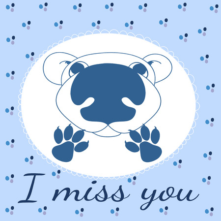 I miss you,  illustration with bear and paws Vector