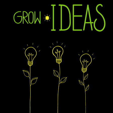 Grow ideas vector illustration with idea light bulbs