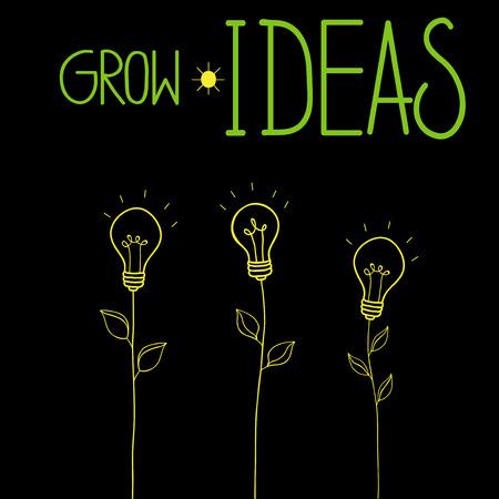Grow ideas vector illustration with idea light bulbs