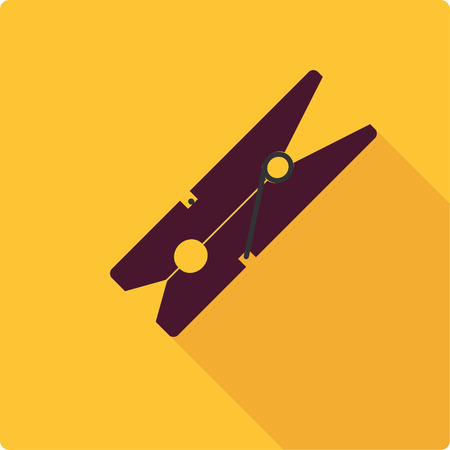 clothespin: Clothespin. Simple flat vector illustration on yellow background