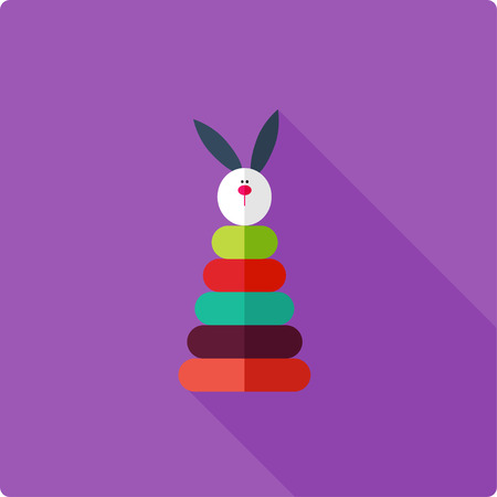 stacking: Colorful stacking toy for little kid. Simple flat vector illustration. Illustration