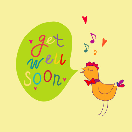 well: Get well soon vector illustration
