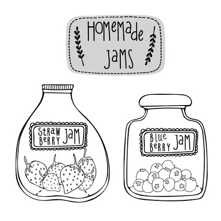 jams: Hand drawn vector illustration with jars of homemade Strawberry and Blueberry jams.