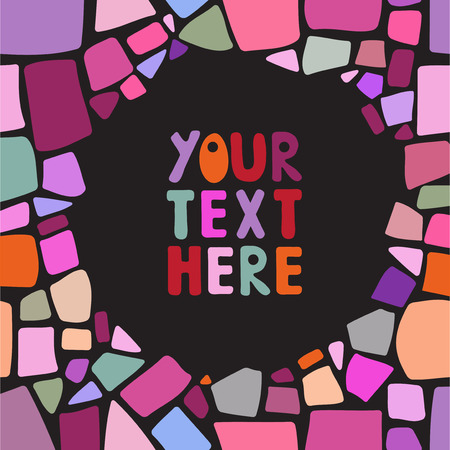 Colorful mosaic frame background. Place for your text. Easy edit design elements.