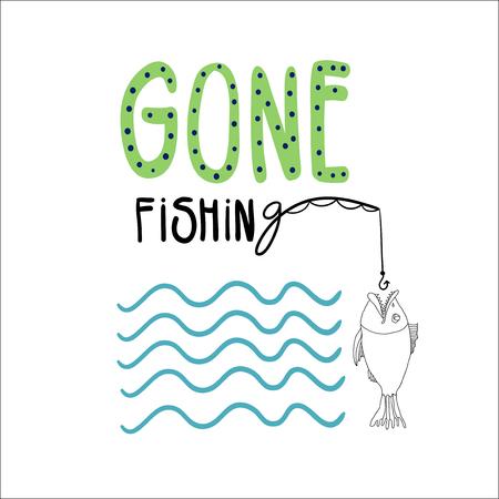 pescando: Dibujado a mano ilustraci�n vectorial con un pez, mont� la pesca y las olas. Letras escritas a mano ido a pescar.
