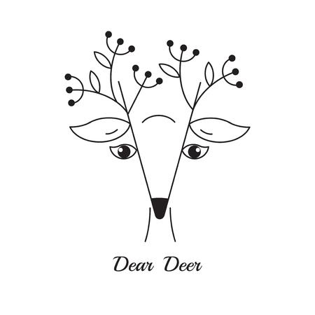 simple logo: Deer. Line icon. Simple naive deer logo in line style