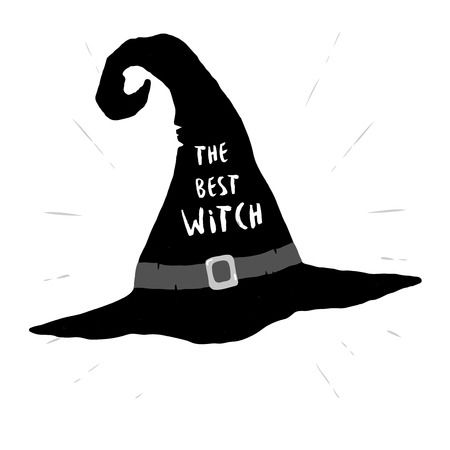 Old black Witch hat. It designed with a text The best Witch Vectores