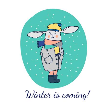 Grußkarte Mit Kaninchen. Vektor-Illustration Für Weihnachten Karten ...