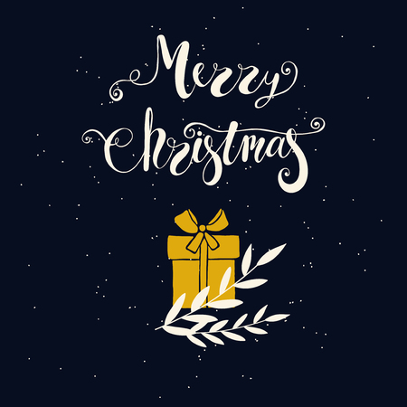 greeting season: Merry Christmas greeting card with box of gift and branches. Design elements for season greetings. Hand written lettering Merry Christmas. Illustration