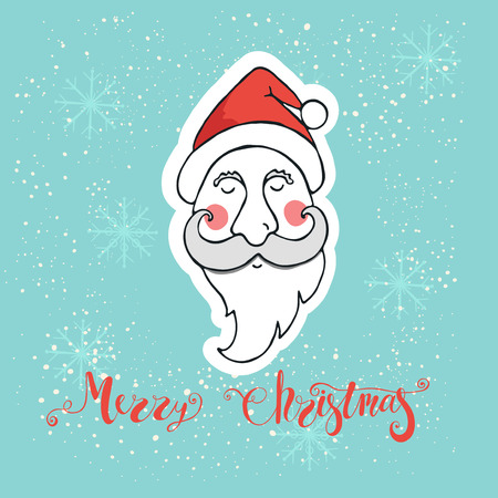 greeting season: Merry Christmas greeting card with head of Santa Claus. Design element for season greetings. Hand written lettering Merry Christmas.