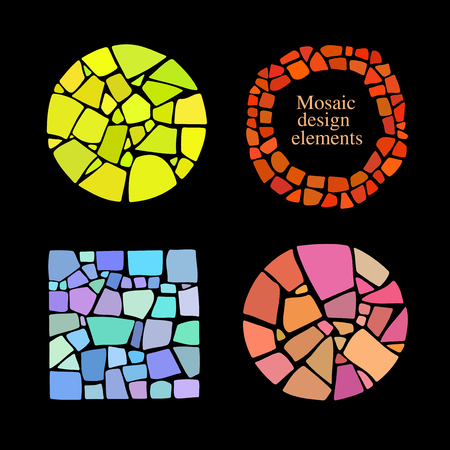 Set of Mosaic design elements in different forms. Illustration