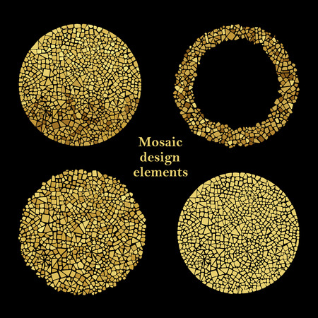 mosaic: Set of Gold Mosaic design elements in circle forms. Illustration