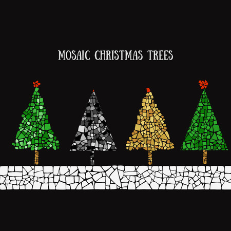 Set of four Christmas trees in Mosaic style Illustration