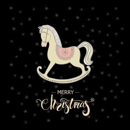 Merry Christmas greeting card with rocking horse and lettering Merry Christmas on black background Illustration