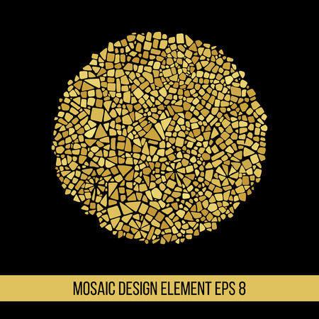 mosaic background: Mosaic Golden ball. Design element in circle form. Illustration