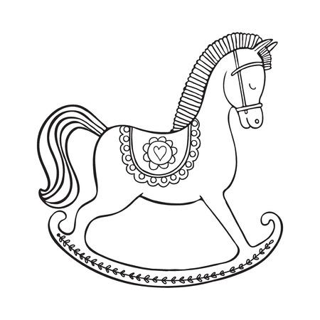 Rocking horse on white background.