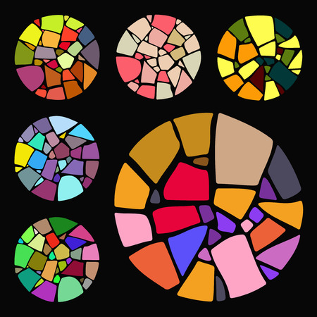 mosaic: Set of bright Mosaic design elements in circle forms.