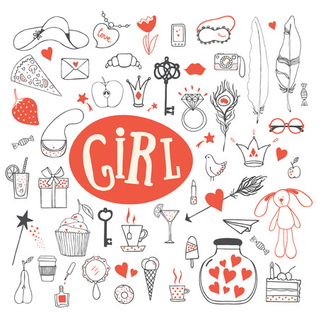 modern girls: Girls accessories. Girl signs and symbols. Hand drawn doodle vector set for girls. Modern princess icons. Girlish set. Isolated vector objects. Collection of girls things.