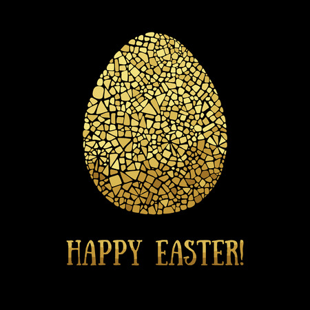 mosaic: Easter illustration on black background. Easter greeting card with egg. Easter icon. Isolated gold egg. Easter mosaic egg. Easter decor element. Happy Easter illustration.