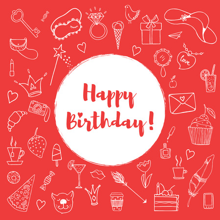 Happy birthday card template. Happy birthday greeting card. Hand drawn doodle vector set with presents for girl. Modern princess icons. Isolated vector objects. Stock Vector - 54030994