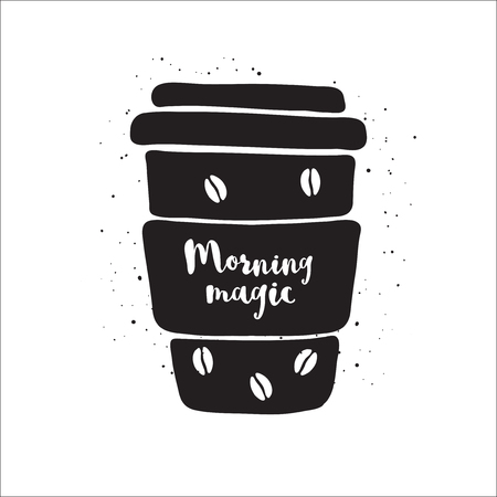 coffee to go: coffee to go with lettering Morning fresh. Black and white illustration with coffee to go. Coffee to go icon. Isolated coffee to go. Monochrome coffee to go on white background. Take away coffee icon. Illustration