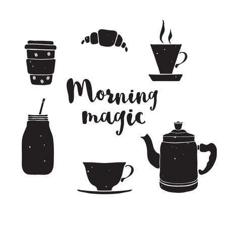 black coffee: Black and white illustration with pot, cups, mason jar.  drinks with lettering Morning fresh. Drink icons. Isolated drinks for breakfast. Illustration