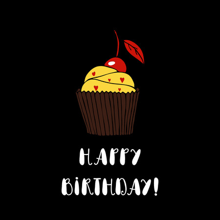 Happy birthday greeting card with cupcake on white background happy birthday greeting card with cupcake on black background hand drawn vector cupcake happy bookmarktalkfo Images