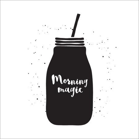mason: Black and white vector illustration with smoothie jar. Hand drawn mason jar with lettering Morning fresh. Black and white vector illustration with jar of smoothie. Jar vector icon. Isolated mason jar. Smoothie. Monochrome vector mason jar.