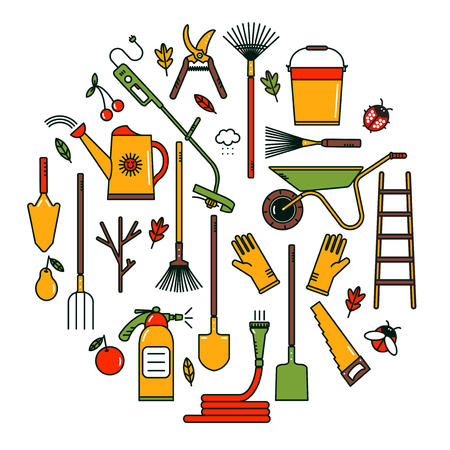 tool: Collection of line garden tools.Set of garden tools.  Garden tools icons. Linear garden tools. Garden tools on white background.  Garden tools concept in bright colors. Gardening.