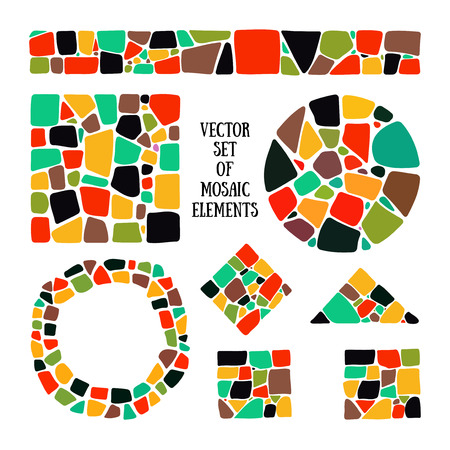 objects: Set of bright Mosaic design elements in different forms. Mosaic style. Mosaic circle, square, triangle, border. Isolated Mosaic forms. Abstract Mosaic textures. Bright Mosaic elements for decoration. Mosaic forms.