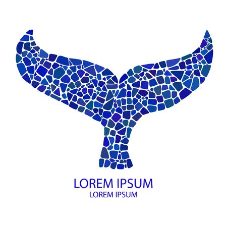 ballena azul: cuento de mosaico de la ballena. ilustraci�n del mosaico con el cuento de la ballena. cuento de la ballena azul del mosaico. Vectores
