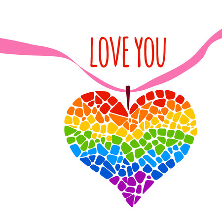 trans gender: Mosaic rainbow heart on white background. Rainbow heart icon. Rainbow heart LGBT . LGBT symbol. Gay culture sign. Gay pride design element. Mosaic rainbow heart with ribbon. Lettering Love you Illustration