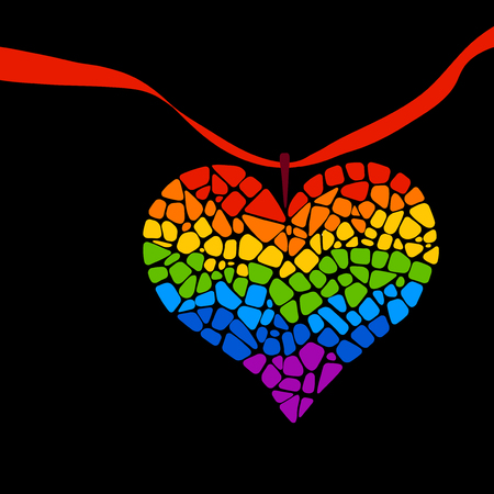 trans gender: Mosaic rainbow heart on black background. Rainbow heart icon. Rainbow heart LGBT . LGBT symbol. Gay culture sign. Gay pride design element. Mosaic rainbow heart with ribbon