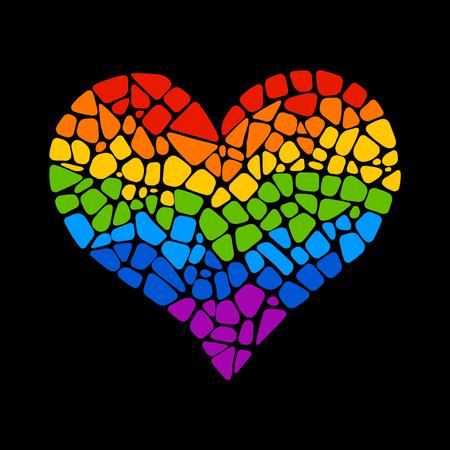 corazón del arco iris del mosaico sobre fondo negro. icono del corazón del arco iris. Corazón del arco iris LGBT. símbolo LGBT. signo de la cultura gay. Gay orgullo elemento de diseño. corazón del arco iris del mosaico aislado.