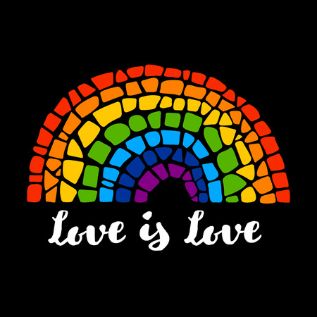 trans gender: Mosaic rainbow. Mosaic rainbow on black background. Rainbow icon. Rainbow LGBT . LGBT symbol. Gay culture sign. Love is love lettering. Gay pride design element.