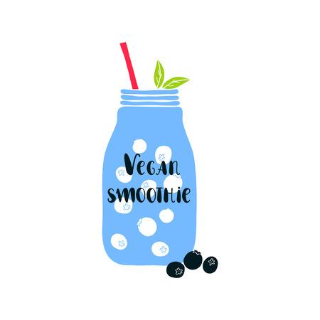 mason: Mason jar with lettering Vegan smoothie. illustration with smoothie jar. Jar icon. Isolated mason jar. Smoothie. Cute mason jar with berries. Vegan smoothie lettering. Blueberry. Illustration