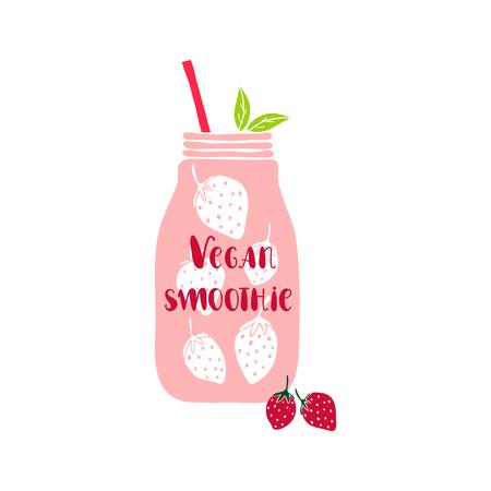 mason: Isolated mason jar. Mason jar with lettering Vegan smoothie.  illustration with smoothie jar. Jar icon. Smoothie. Cute mason jar with berries. Vegan smoothie lettering. Strawberry.