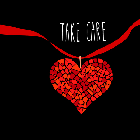 take care: Mosaic heart with red ribbon on black background. Design element for greeting card, posters. Take care lettering. Illustration
