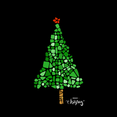 postcard design: Mosaic Christmas tree. Design element for poster, greeting card, postcard. Ceramic tile texture. Easy to recolor. Illustration