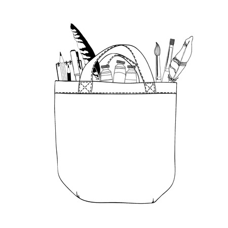 art supplies: Bag and art supplies. Black and white contour illustration.