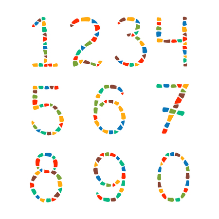 Isolated mosaic numbers from 0 to 9 on white background. Ceramic tile texture. Easy to recolor. Illustration