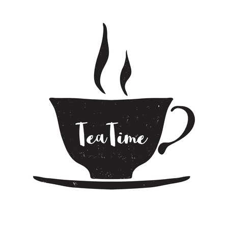 Hand drawn cup with lettering Tea time on white background. Black and white illustration. Design element for menu, poster.