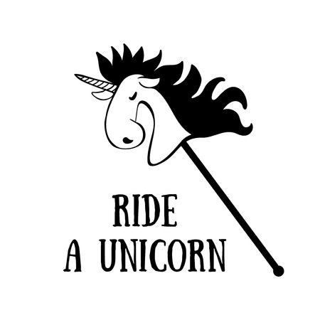 Poster with Unicorn. Designed with a text Ride a Unicorn. T-shirt design element. Illustration