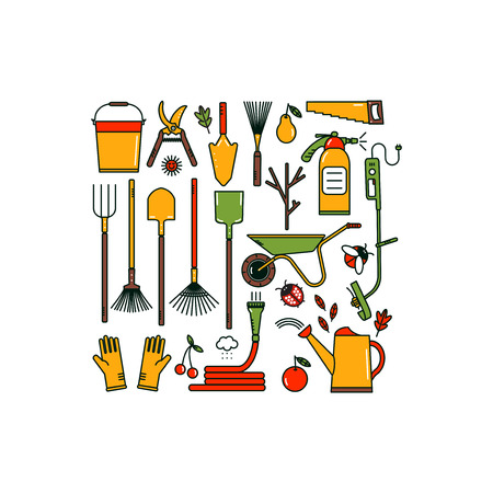 Set of garden tools on white background. Isolated working equipment. Line style icons. Bright colours. Illustration